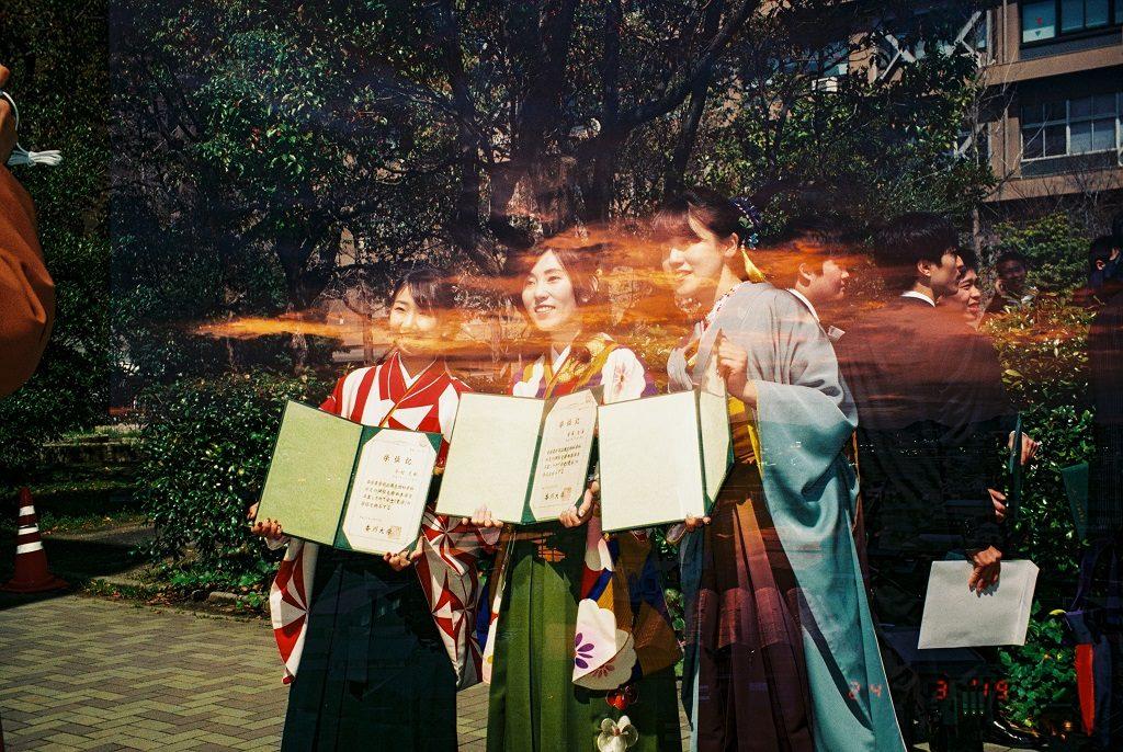 Japan University students girls graduating.